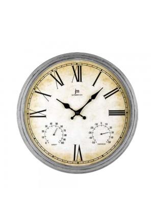 Orologio Da Parete Muro Shabby Style Igrometro Termometro Colore Grigio Lowell 00835A-CF