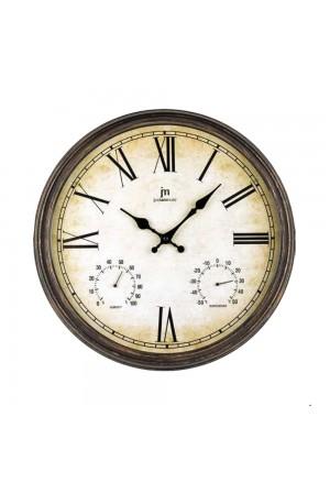 Orologio Da Parete Muro Shabby Style Igrometro Termometro Colore Marrone Diametro 40 Cm Lowell 00835B-CF