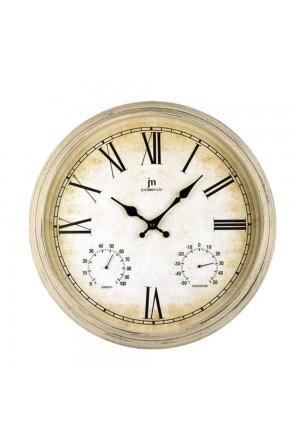 Orologio Da Parete Muro Industrial Shabby Style Igrometro Termometro Colore Panna Diametro 40 Cm Lowell 00835C-CF