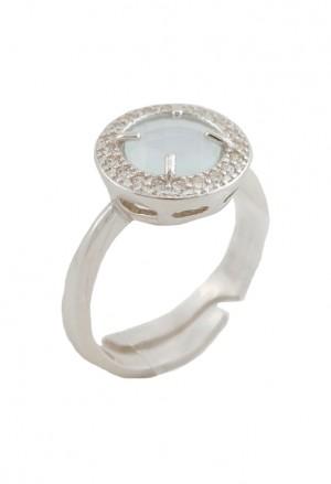 Anello Donna Argento Quarzo Naturale Cerchio Sfaccettato Colore Bianco Opaco Cristalli 3436WFM