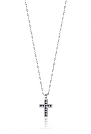 Collana Luca Barra Acciaio Croce Cristalli Neri CA429