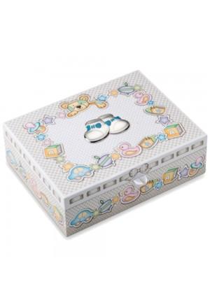Scatola Dei Ricordi Bambino Celeste Cassetti Applicazione Argento Bilamina Dimensione 29x23 Valenti 75045/C