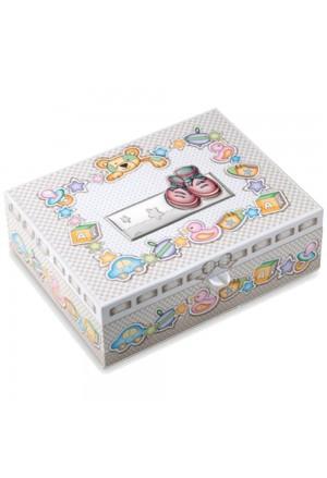 Scatola Dei Ricordi Bambina Rosa Cassetti Applicazione Argento Bilamina Dimensione 29x23 Valenti 75048/R