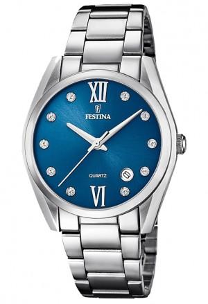 Orologio Festina Donna Quadrante Blu Cristalli Acciaio Silver F16790/C