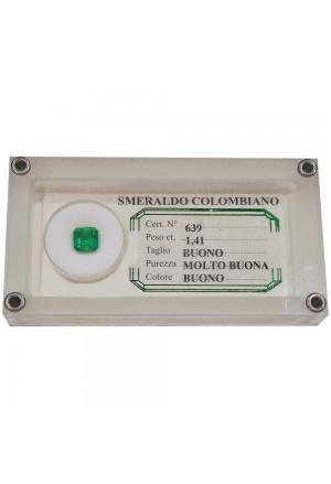 Smeraldo Espertizzato Colombiano Da Investimento Caratura 1.41 Quadrato 1016965