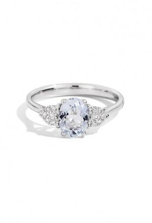Anello Recarlo Acquamarina Donna Oro Bianco 18kt Diamanti R76OV001/AQ-14