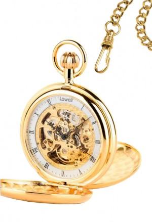 Orologio Lowell Tasca Savonette Scheletrato Meccanico Gold Numeri Romani Byron Regalo Matrimonio PO8116