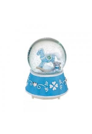 Carillon Baby Boule De Neige Vetro Luce Musica Neve Cavallo A Dondolo Celeste Acca B.70 C