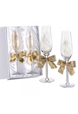 Coppia Bicchieri Flute Nozze Oro Cristallo Logo 50 Anni Matrimonio Regalo Acca V.55C.3