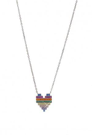 Collana Girocollo Cuore Amore Cristalli Multicolor Arcobaleno Argento Silver Fantasia Monile 24ETUFM