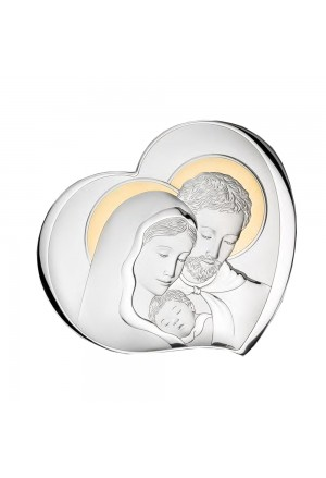 Quadro Sacra Famiglia Cuore Argento Bilamina Gold Legno Dimensione 22X25 H1CZ3FM