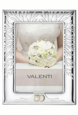 Cornice Portafoto 50° Anniversario Nozze Oro Albero Della Vita Argento Bilamina 15x21 Valenti 52053/4XL