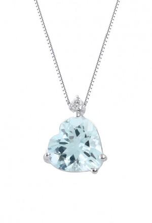 Collana Acquamarina Cuore Oro 18kt Diamante Naturale Demetra 038.279.C02