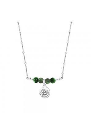 Collana Ciondolo Occhio Incisione Eccezionale Awesome Pietre Agata Verde Acciaio Tres Jolie Brosway TVP7RFM