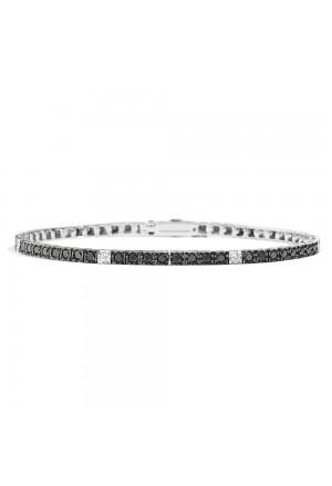 Bracciale Tennis Recarlo Diamanti Black Diamanti Bianchi Collezione Facecube Oro 18kt Uomo T39SE884/KX-21
