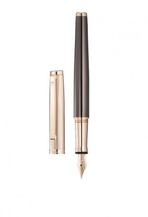 Penna Stilografica Argento Placcato Oro Rosa Brown Incisione Personalizzata Tuscany Waldmann 2282