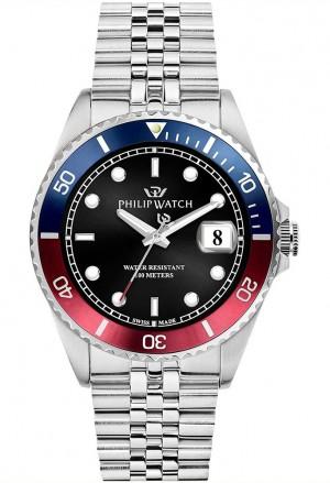 Orologio Philip Watch Uomo Caribe Pepsi Ghiera Bicolore Quadrante Nero Cinturino Jubilee R8253597049