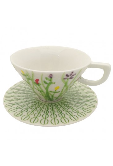 Tazza Caffe L'Abitare Seasons Mese Aprile Porcellana Handmade Decori Rilievo 16880022