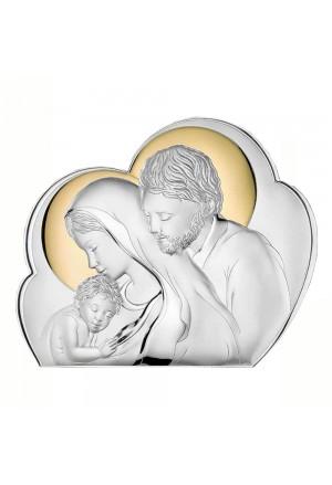 Quadro Sacra Famiglia Argento Bilamina Gold Misura 38X31 Regalo Nozze Oro 81245 6L