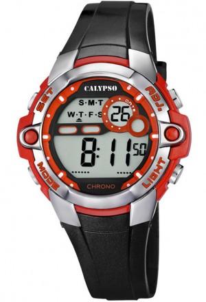 Orologio Calypso Digitale Cronografo Luminoso Nero Rosso 10 ATM K5617/5