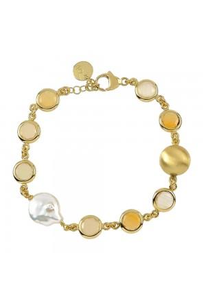 Bracciale Aquaforte Argento Gold Perla Fiume Pasta Vitrea Milky Senape Donna EW40CFM