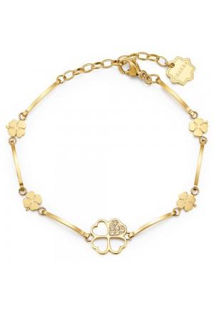 Bracciale Brosway Chakra Acciaio Gold Quadrifoglio Cristalli BHKB012