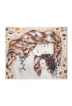 Quadro Maternità Klimt Cristalli Legno Misura 25x33 Acca QD.94 KL