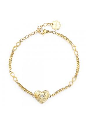 Bracciale Brosway Chakra Acciaio Gold Cuore Cristalli BHKB023