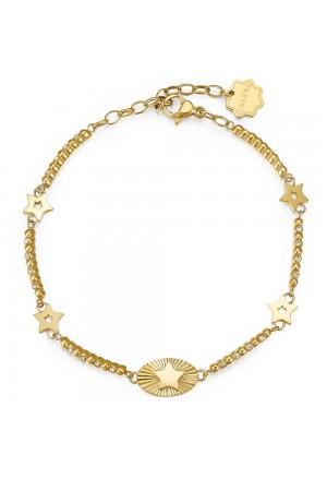 Bracciale Brosway Chakra Acciaio Gold Stelle Cristalli BHKB026