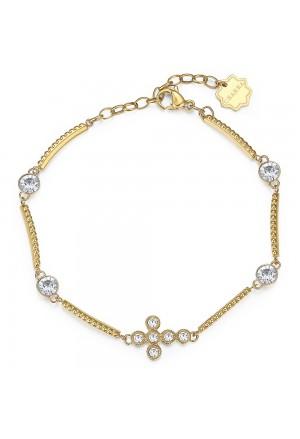 Bracciale Brosway Chakra Acciaio Gold Croce Cristalli BHKB028