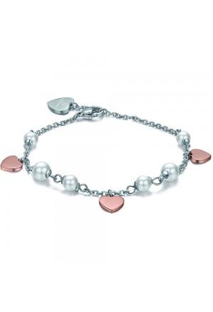 Bracciale Luca Barra Acciaio Perle Bianche Cuori Rose BK1746