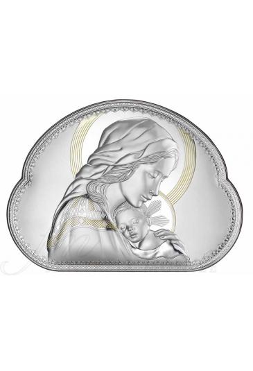 Quadro Madonna Con Bambino Laminato Argento Legno Valenti 8005/1