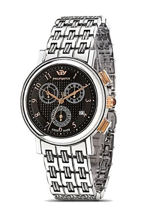 Orologio Philip Watch Tradition Boudoir Medio Cronografo Datario Quadrante Black Acciaio R8273103025
