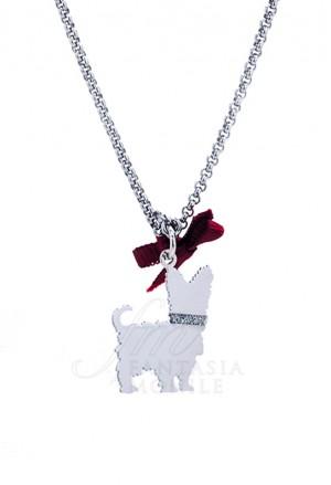 Collana Cane Yorkshire Argento 925% Dog Happy Pets Unoaerre 8340