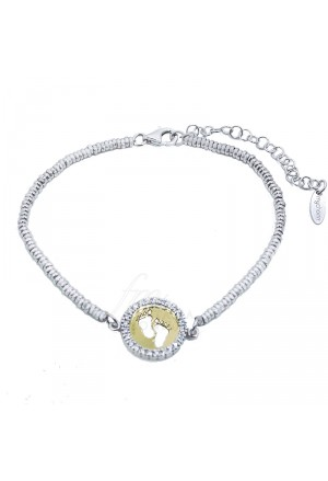 Bracciale Lady Argento Oro Giallo Cristalli Piedini Baby My Charm OABR12P