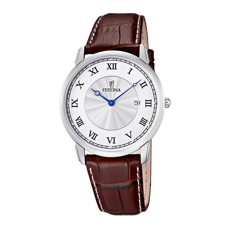 F6813 5 orologio uomo acciaio cinturino pelle numeri for Orologio numeri romani
