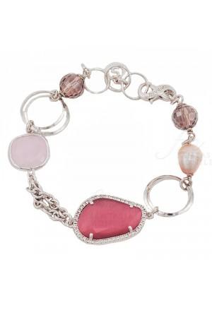 Bracciale Peche Donna Pietre Perle Zirconi Ottone Sovrani J2421