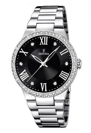 Orologio Festina Donna Quadrante Black Cristalli Acciaio Silver F16719/2