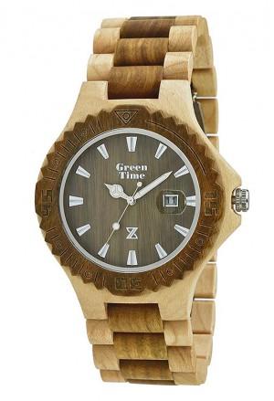 Orologio Uomo Legno Acero Sandalo Wood Green Time ZW016E