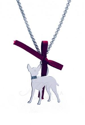 Collana Cane Pincher Argento 925% Dog Happy Pet Unoaerre 8341
