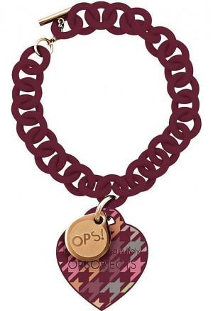 Bracciale OPS!Pied De Poule Silicone Gomma Bordeaux OPSBR-164