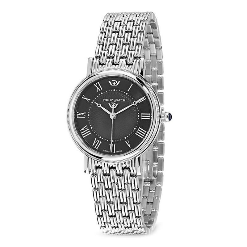 Philip watch orologi acciaio donna uomo orologio classico for Orologio numeri romani