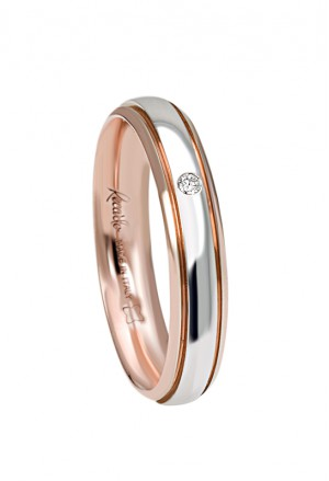 Fede Nuziale Recarlo Oro 18kt Bianco Rosa Diamante Naturale Matrimonio Wedding W14FD003/BRD