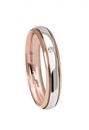 Fede Nuziale Recarlo Oro 18kt Bianco Rosa Matrimonio Wedding W14FD003/BRD
