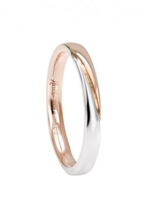 Fede Nuziale Recarlo Oro 18kt Bianco Rosa Matrimonio Wedding W14FD004/BR