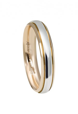 Fede Nuziale Recarlo Oro 18kt Bianco Giallo Matrimonio Wedding W14FD003/BG