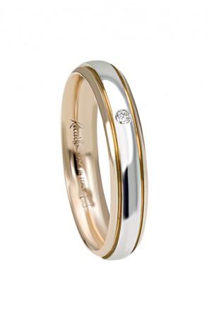 Fede Nuziale Recarlo Oro 18kt Bianco Giallo Diamante Naturale Matrimonio Wedding W14FD003/BGD