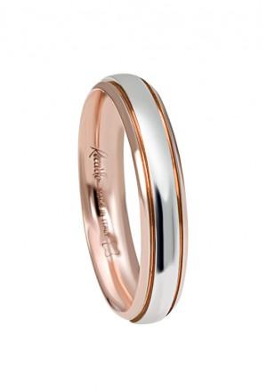 Fede Nuziale Recarlo Oro 18kt Bianco Rosa Matrimonio Wedding W14FD003/BR