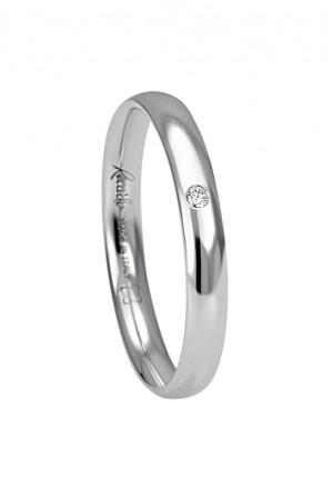 Fede Nuziale Recarlo Oro 18kt Bianco Diamante Matrimonio Wedding  W14FS001/BD