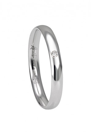 Fede Nuziale Recarlo Oro 18kt Bianco Diamante Naturale Matrimonio Wedding W14FS001/BD